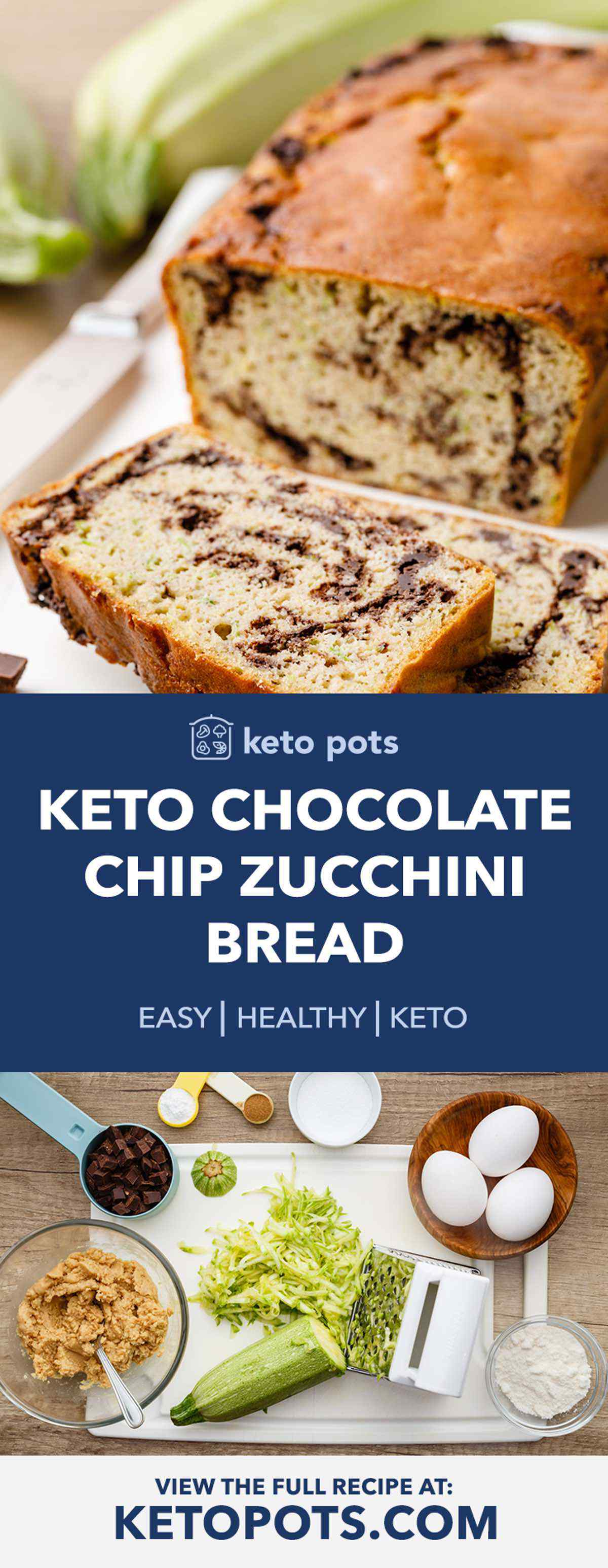 Chocolate Chip Keto Zucchini Bread