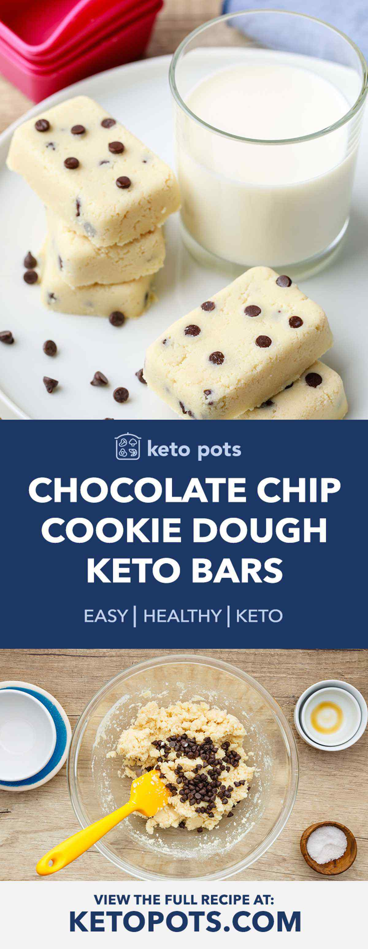 Keto Chocolate Chip Cookie Dough Protein Bars