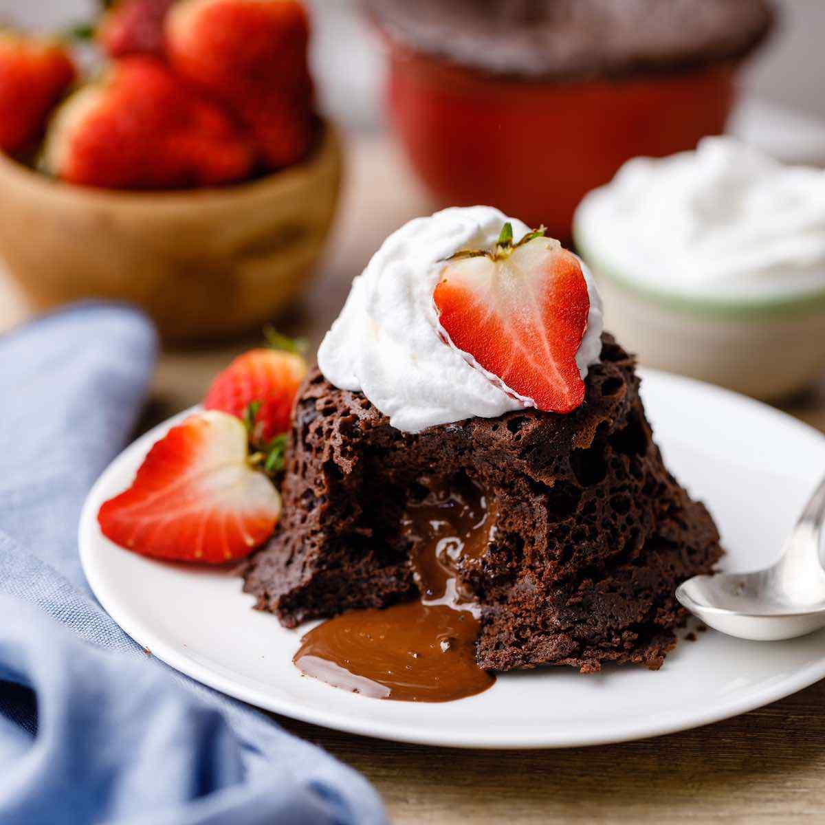 The Best Gooey Keto Molten Chocolate Lava Mug Cake Keto Pots