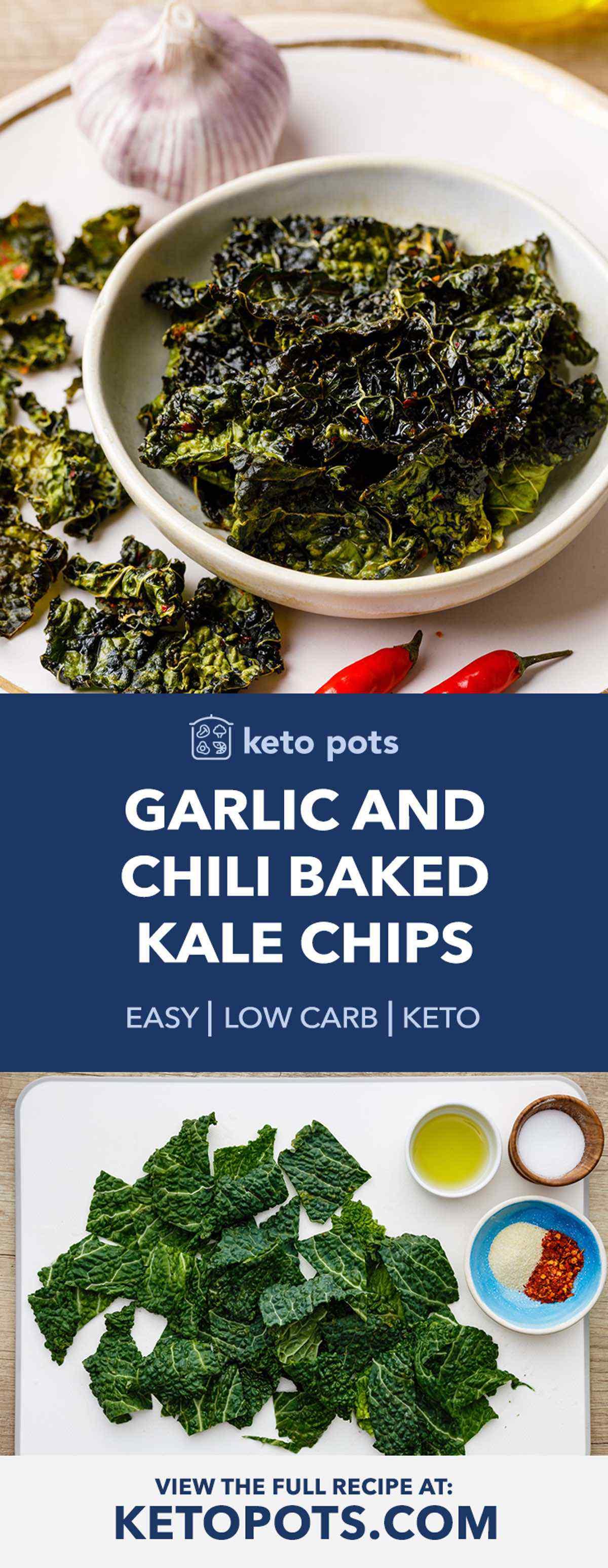 Garlic and Chili Keto Baked Kale Chips