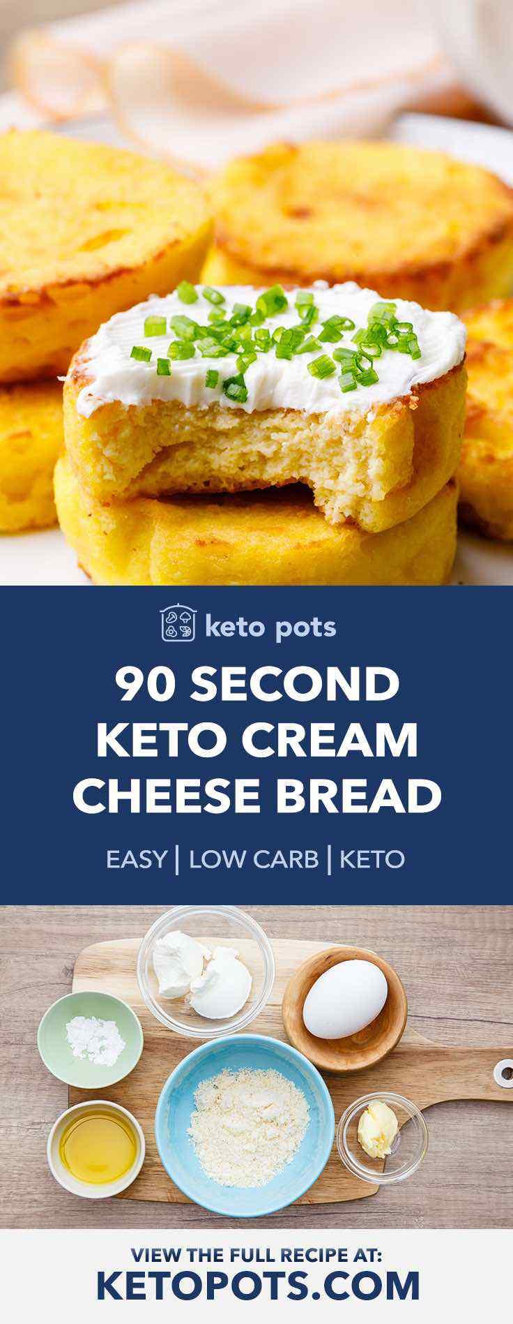 90 Second Keto Cream Cheese Bread