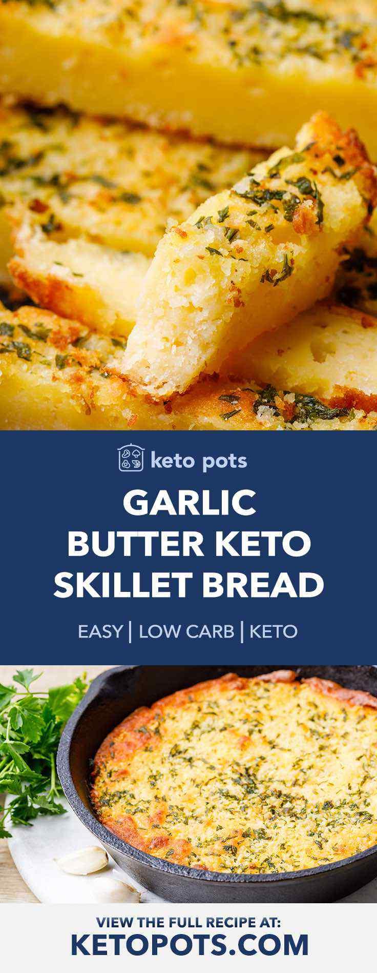 Easy keto skillet garlic bread.