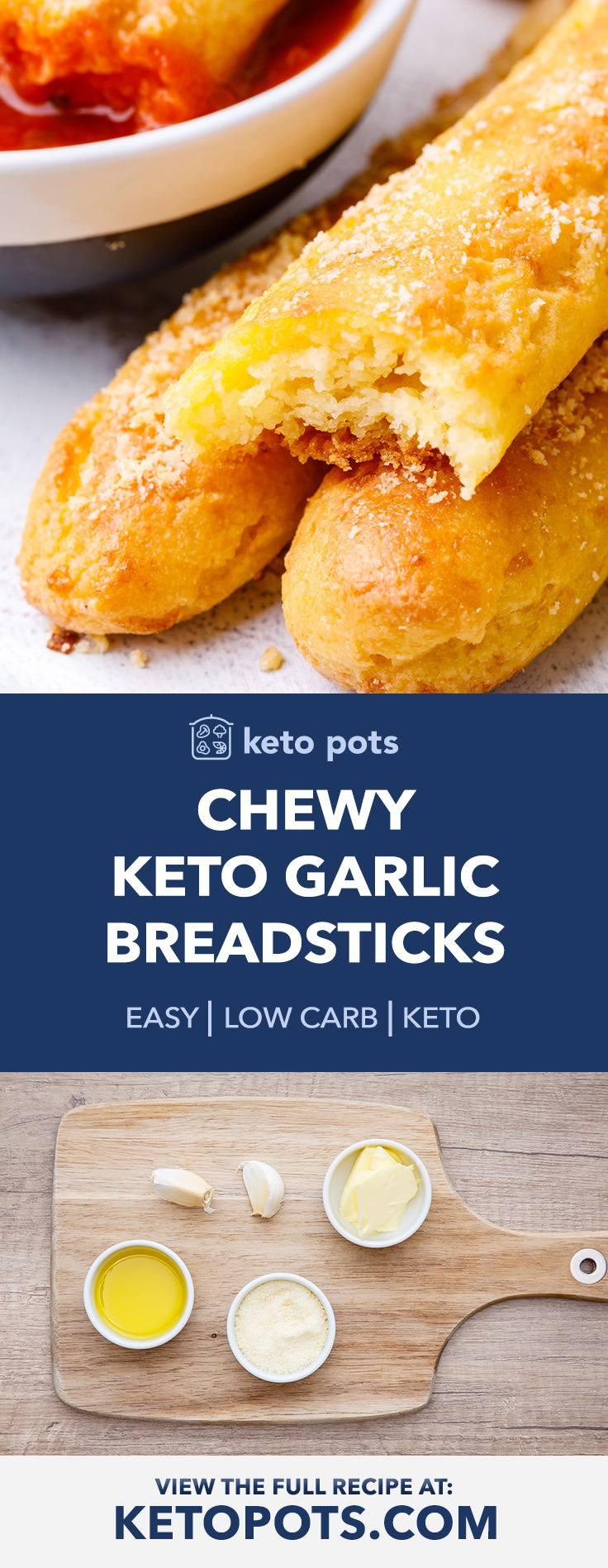 Chewy Keto Garlic Breadsticks
