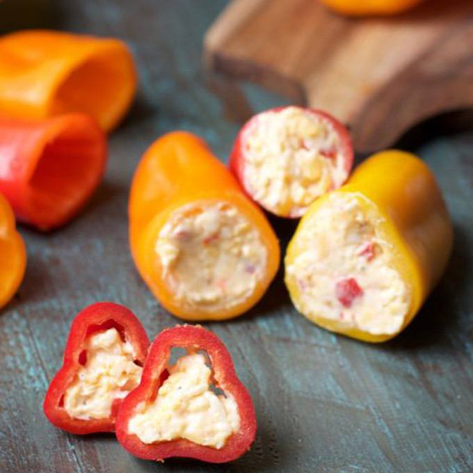 Bacon and Pimento Cheese Stuffed Sweet Peppers