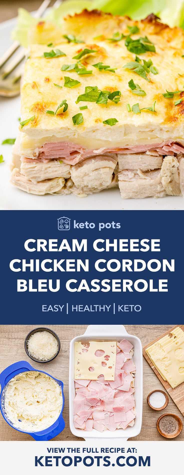 Cream Cheese Keto Chicken Cordon Bleu Casserole