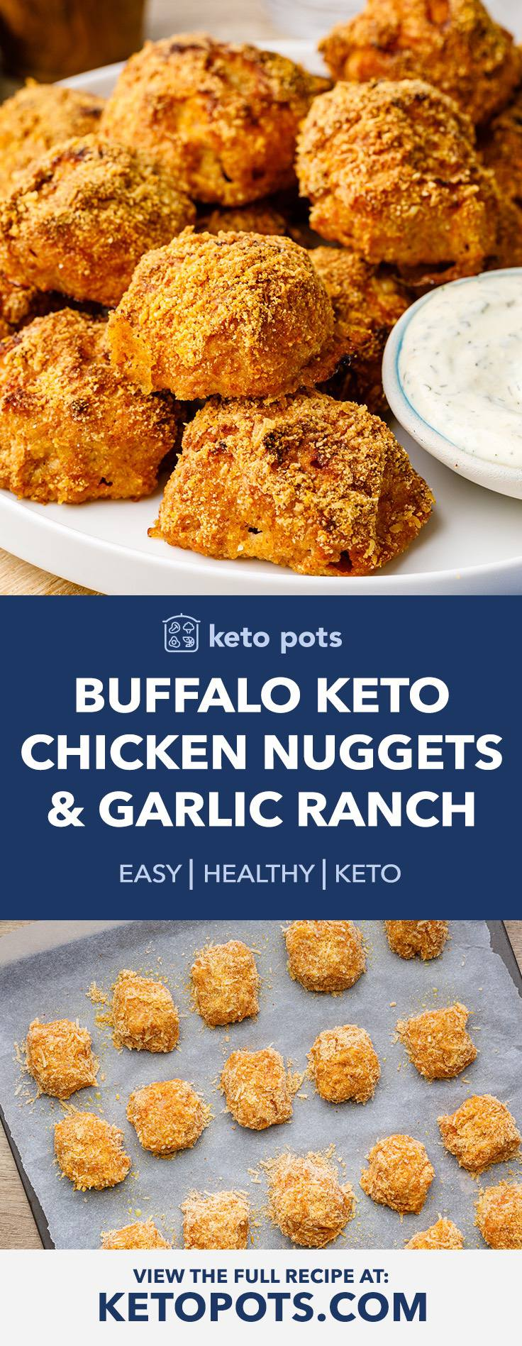 Buffalo Keto Chicken Nuggets with Homemade Garlic Ranch