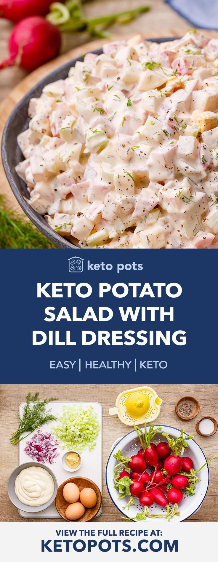 Low Carb Radish Keto Potato Salad with Creamy Dill Dressing
