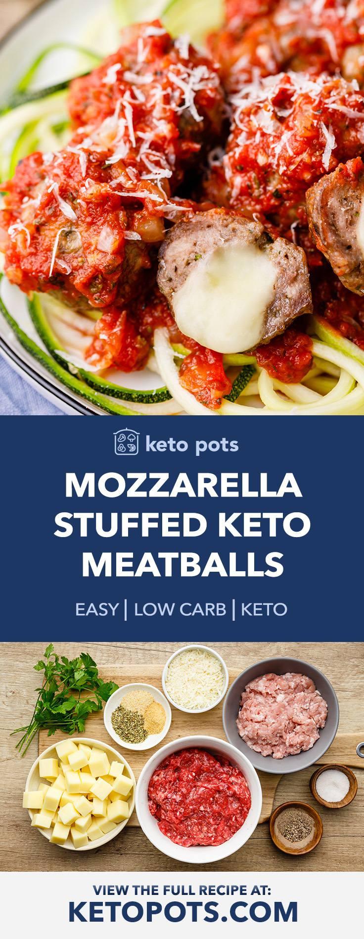 Mozzarella Stuffed Keto Meatballs with Homemade Marinara Sauce