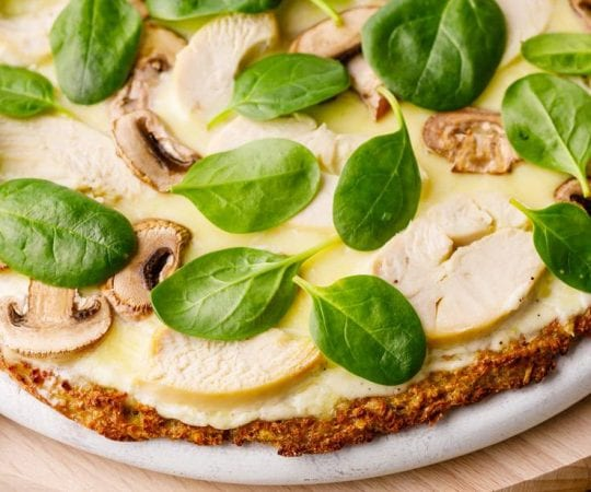 Garlic Chicken Keto Alfredo Pizza