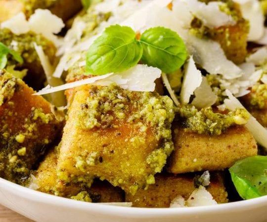 Homemade Keto Gnocchi With Pesto Sauce