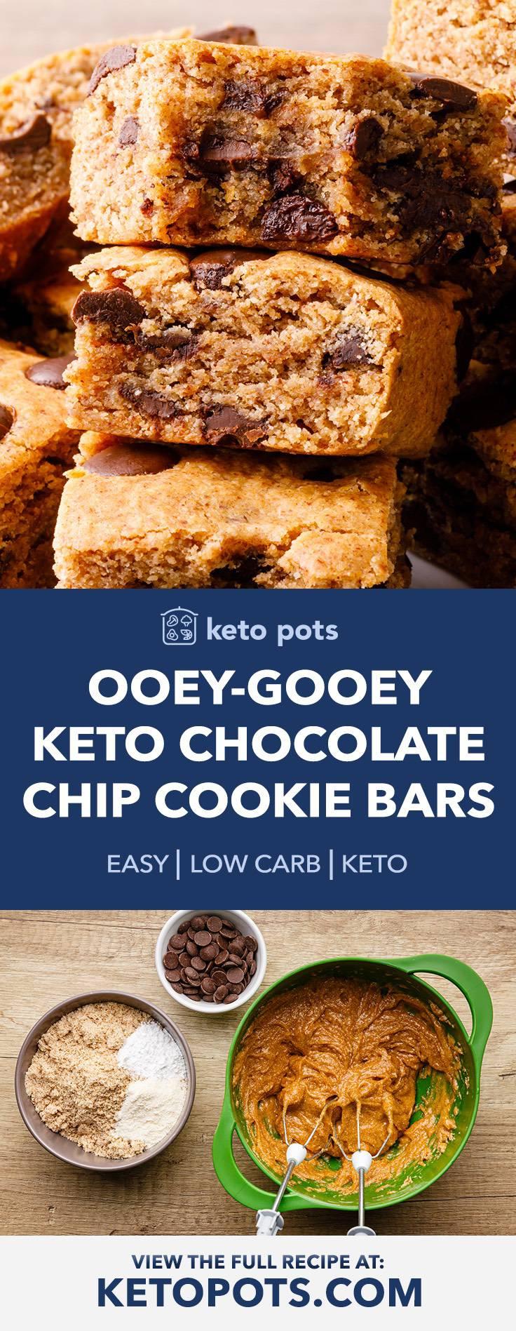 Ooey-Gooey Keto Chocolate Chip Cookie Bars