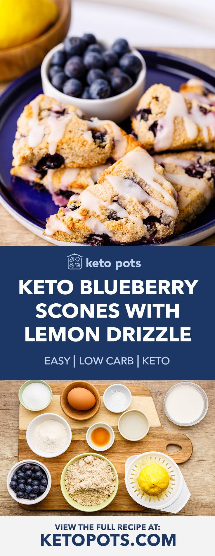 Melt In Your Mouth Keto Blueberry Scones with Lemon Drizzle