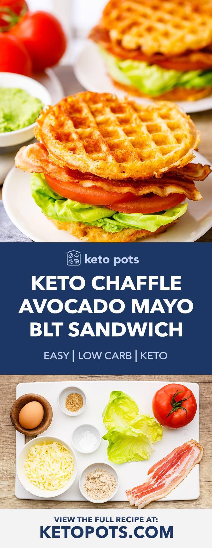 Keto Chaffle BLT Sandwich with Avocado Mayo