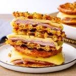 Keto Chaffle Ham And Cheese Sandwich