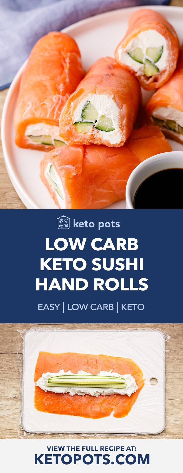 Low Carb Keto Sushi Hand Rolls Without Rice or Cauliflower