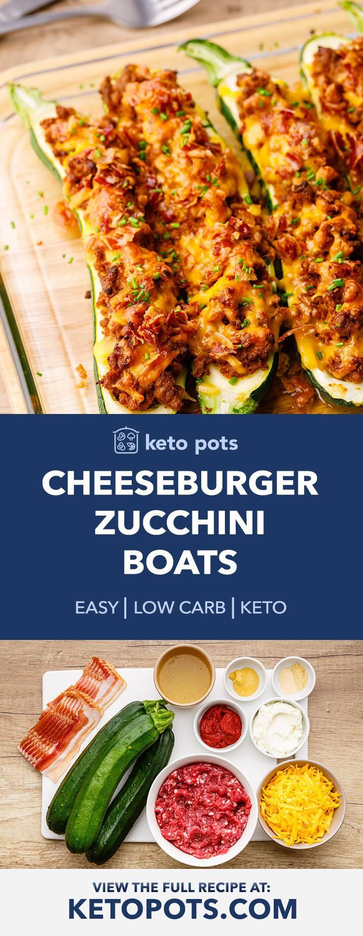 Easy Keto Bacon Cheeseburger Zucchini Boats